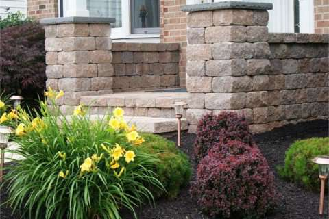 Landscaping with Retaining Walls, Steps, and Pillars
