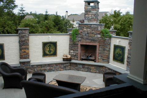 Outdoor Fireplace and Covering
